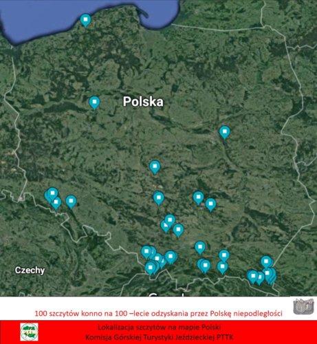 100 szczytów konno na 100-lecie niepodległości - mapa